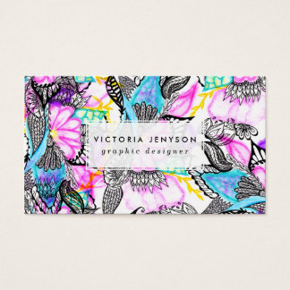 Bright hand drawn floral abstract watercolor business card