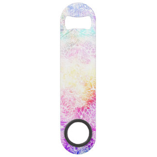 Bright hand drawn floral mandala pastel nebula speed bottle opener