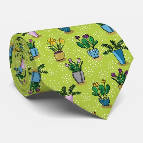 Bright hand illustrated flower pots neck tie