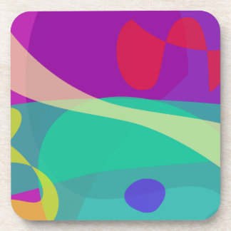 Bright Happy Abstract Purple and Green Beverage Coasters