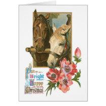 Bright Happy Christmas - Vintage Horses Card