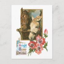Bright Happy Christmas - Vintage Horses Holiday Postcard