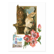 Bright Happy Christmas - Vintage Horses Postcard