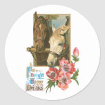 Bright Happy Christmas - Vintage Horses Classic Round Sticker