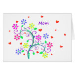 Bright Happy Easter - Floral, Swirls and Heart Greeting Card