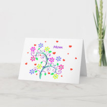 Bright Happy Easter - Floral, Swirls and Heart Holiday Card