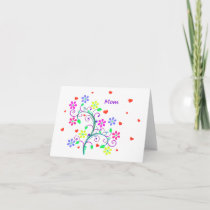 Bright Happy Easter Mom - Floral, Swirls, Hearts Holiday Card