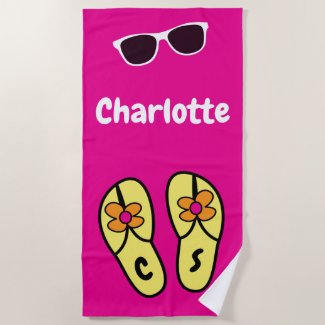 Bright Happy Flip Flops + Shades Name Monogram Beach Towel