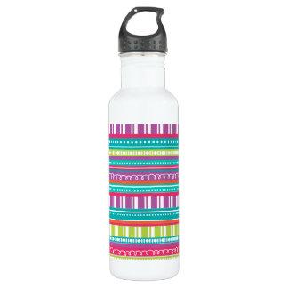 Bright Happy Stripes CelebrationWater Bottle 24oz Water Bottle