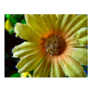 Bright Happy Yellow Orange Fake Flower Postcard