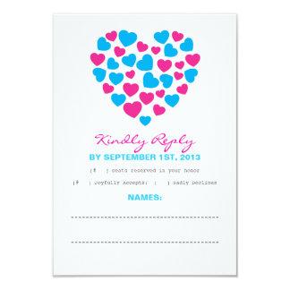 Bright Hearts Response Card in Pink & Aqua