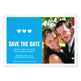Bright Hearts with Split Save the Date Card - Blue