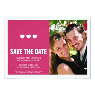 Bright Hearts with Split Save the Date Card - Pink