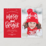 """Bright Holiday script christmas holiday Postcard<br><div class=""""desc"""">This card features white calligraphy and a delightful holiday image. The text and the back greeting message can be personalized.</div>"""