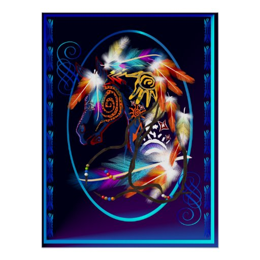 Bright Horse Oval Posters