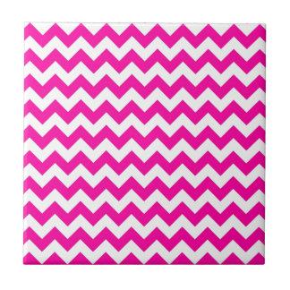 Bright Hot Pink Chevrons Ceramic Tile