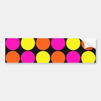 Bright Hot Pink Orange Yellow Polka Dots Pattern Bumper Sticker