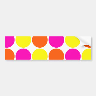 Bright Hot Pink Orange Yellow Polka Dots Pattern Bumper Sticker