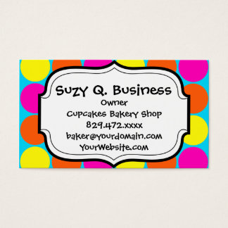 Bright Hot Pink Orange Yellow Polka Dots Pattern Business Card