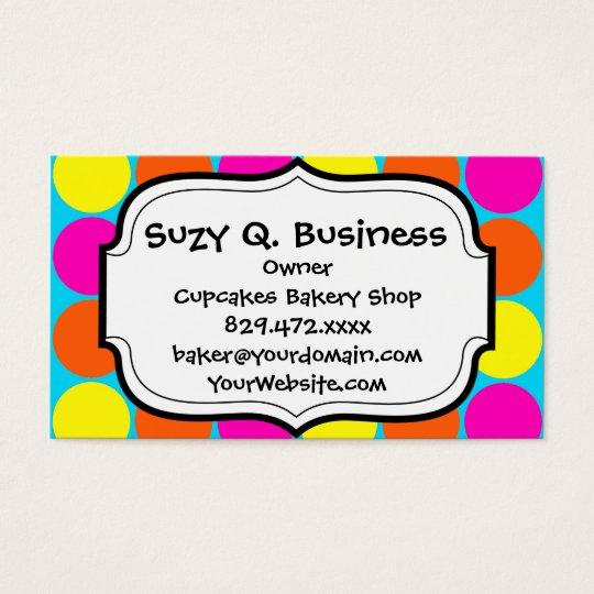 Bright Hot Pink Orange Yellow Polka Dots Pattern Business Card