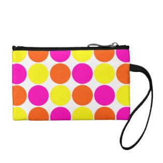 Bright Hot Pink Orange Yellow Polka Dots Pattern Coin Purse