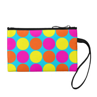 Bright Hot Pink Orange Yellow Polka Dots Pattern Coin Purse