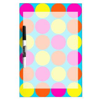 Bright Hot Pink Orange Yellow Polka Dots Pattern Dry-Erase Board