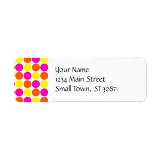 Bright Hot Pink Orange Yellow Polka Dots Pattern Labels