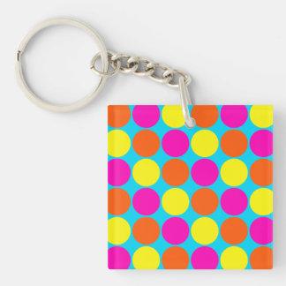 Bright Hot Pink Orange Yellow Polka Dots Pattern Keychain