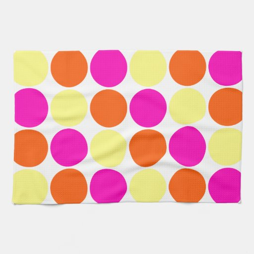 Bright Hot Pink Orange Yellow Polka Dots Pattern Towels