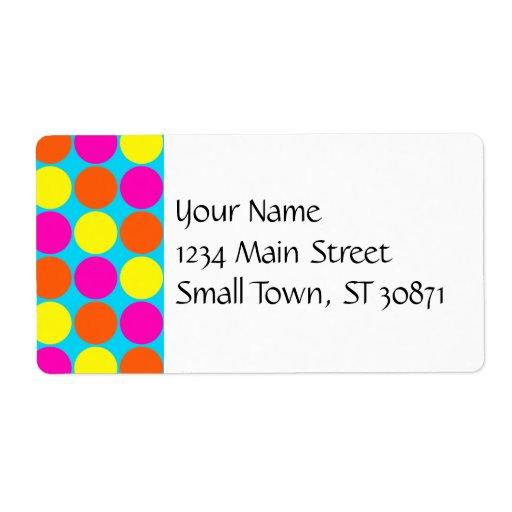 Bright Hot Pink Orange Yellow Polka Dots Pattern Custom Shipping Label