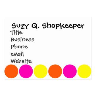 Bright Hot Pink Orange Yellow Polka Dots Pattern Large Business Card