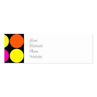 Bright Hot Pink Orange Yellow Polka Dots Pattern Mini Business Card