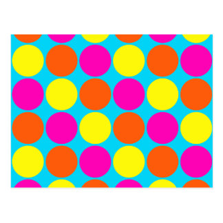 Bright Hot Pink Orange Yellow Polka Dots Pattern Postcard