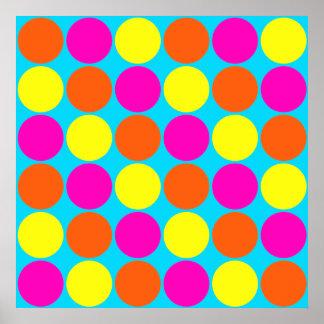 Bright Hot Pink Orange Yellow Polka Dots Pattern Poster