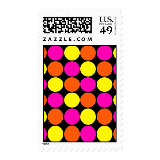 Bright Hot Pink Orange Yellow Polka Dots Pattern Stamp