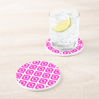Bright Hot Pink Retro Chic Ikat Drops Pattern Drink Coaster