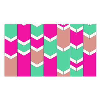 Bright Hot Pink Teal Arrow Zigzag Chevron Pattern Business Card Template