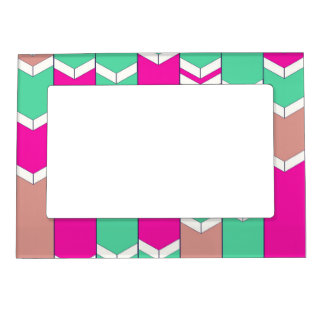 Bright Hot Pink Teal Arrow Zigzag Chevron Pattern Magnetic Photo Frame