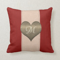 Bright  I Heart You Red Stripes Pillow