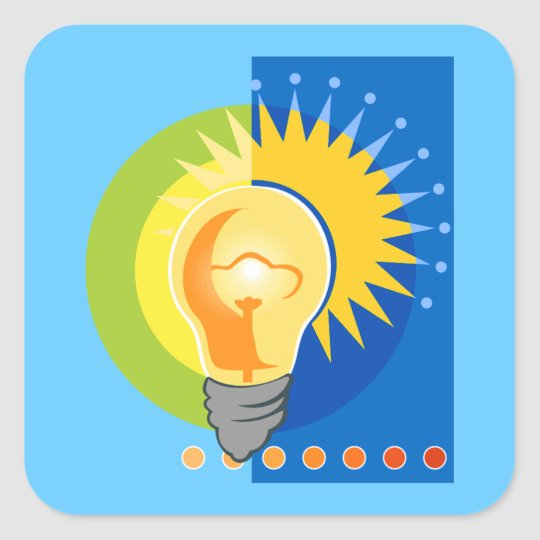 Bright Idea Light Bulb Electric Square Sticker
