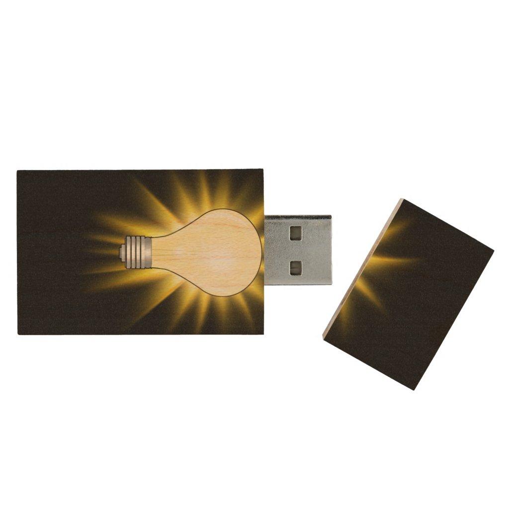 Bright Idea Light Bulb Wood USB Flash Drive