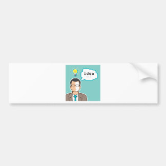 Bright Idea Man vector Illustration Bumper Sticker