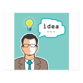 Bright Idea Man vector Illustration Postcard