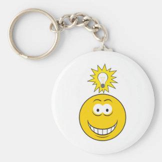 Bright Idea Smiley Face Basic Round Button Keychain