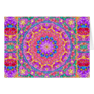 Bright India Watercolor Mandala Greeting Card