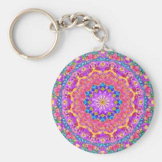 Bright India Watercolor Mandala Keychain