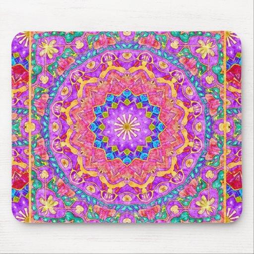 Bright India Watercolor Mandala Mousepad