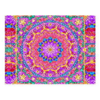 Bright India Watercolor Mandala Postcard