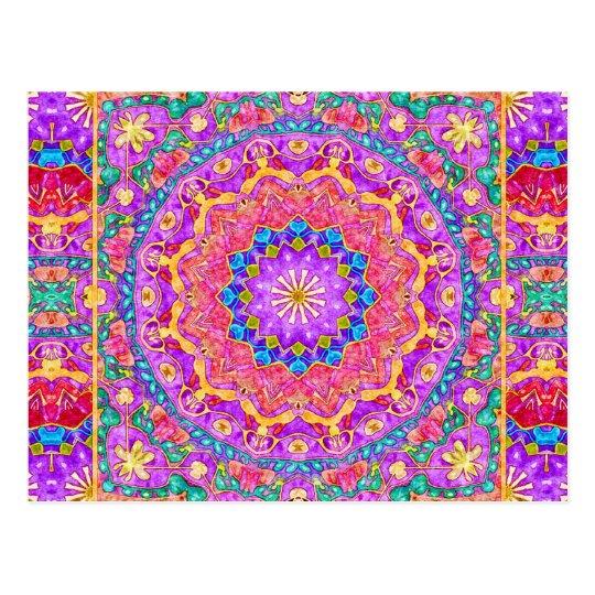 Bright India Watercolor Mandala Postcard
